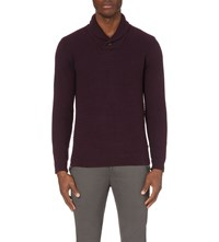 Ted Baker Shawl Neck Cotton Blend Jumper Deep Purple