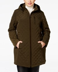 Laundry By Design Plus Size Hooded Quilted Jacket Jalapeno
