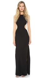 Lisa Perry Circle Cutout Gown Black