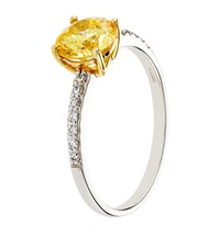 Carat Yellow Round Solitaire Ring Female White Gold