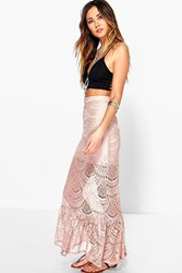 Boohoo Savannah Crochet Lace Maxi Skirt Nude