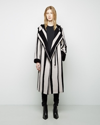 Acne Studios Tria Long Jacquard Coat Black White