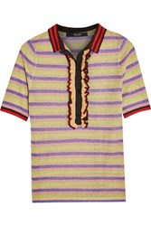 Sibling Striped Metallic Knitted Polo Shirt Yellow Metallic