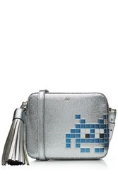 Anya Hindmarch Space Invader Leather Crossbody Shoulder Bag Silver