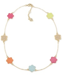 Carolee Gold Tone Colorful Flower Necklace Bright Multi