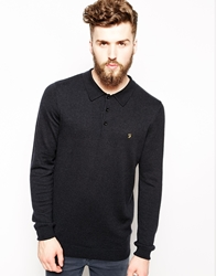 Farah Vintage Knitted Polo In Slim Fit Long Sleeves And Slim Fit Black