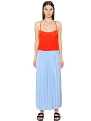 Mrz Pleated Color Block Viscose Dress