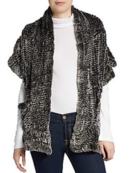 Saks Fifth Avenue Draped Rabbit Fur Shawl Snow Grey