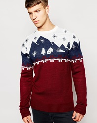 Another Influence Christmas Scene Jumper Red