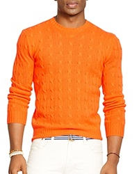 Polo Ralph Lauren Cable Knit Cashmere Sweater Sunkist Orange