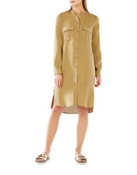 Bcbgmaxazria Maddox Button Up Silk Shirtdress Agave