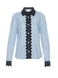 Gucci Denim Panelled Gingham Shirt Blue Multi