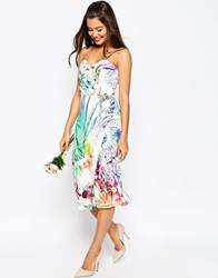 Asos Wedding Bandeau Midi Pencil Dress With Crop Jacket In Floral Print Multi