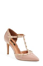 Women's Halogen 'Martine' Studded T Strap Pump Pale Pink Patent