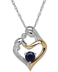 Macy's Sapphire 2 3 Ct. T.W. And Diamond Accent Mother And Child Pendant Necklace In Sterling Silver And 14K Gold