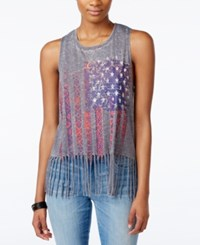 Almost Famous Juniors' Flag Fringe Graphic Tank Top Grey