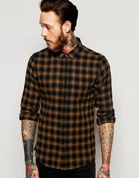 Asos Check Shirt With Loose Weave In Long Sleeve Blue