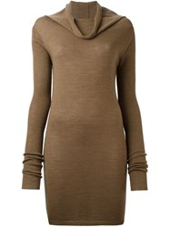 Rick Owens Cowl Neck Jumper Brown