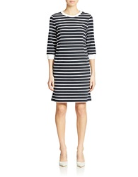 424 Fifth Tidal Stripe Ponte Dress Dark Sapphire