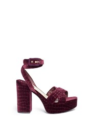 Ash 'Boom' Croc Embossed Velvet Platform Sandals Purple