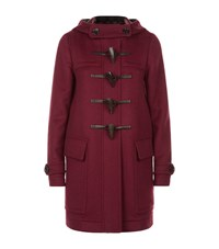 Burberry Wool Duffle Coat With Check Lining Female Plum