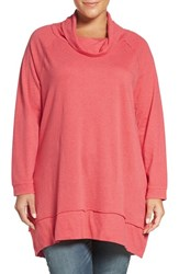 Caslonr Plus Size Women's Caslon Cowl Neck French Terry Tunic Heather Coral Spice