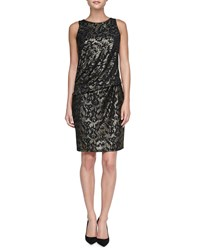 David Meister Sequined Panel Cocktail Dress Black Gold