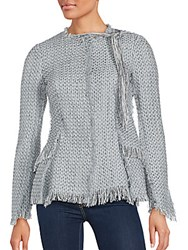 Proenza Schouler Fitted Long Sleeve Knit Jacket Grey