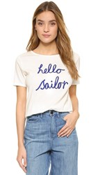 Chinti And Parker Hello Sailor Tee Off White Bright Blue