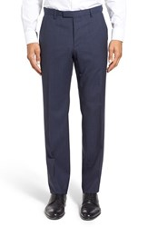 Boss Men's 'Leenon' Flat Front Check Stretch Wool Trousers Navy