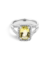 John Hardy Sterling Silver Batu Classic Chain Lemon Quartz Ring With Diamonds Yellow White