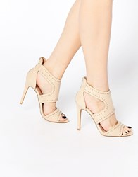 Lipsy Liberty Nude Studded Caged Heeled Sandals Beige