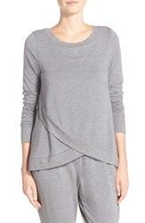Midnight By Carole Hochman Women's Terrycloth Wrap Hem Top Heather