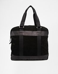 Asos Suede And Leather Zip Top Tote Bag Black
