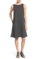 Eileen Fisher Petite Women's Bateau Neck Drop Waist Shift Dress Charcoal