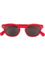 See Concept ' C' Round Frame Sunglasses Red