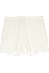 Dolce And Gabbana Lace Trimmed Stretch Silk Crepe De Chine Pajama Shorts