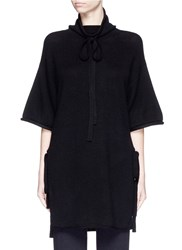3.1 Phillip Lim Side Tie Wool Yak Cashmere Poncho Black