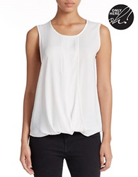 Lord And Taylor Plus Sleeveless Mock Wrap Blouse Ivory