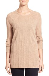 Women's Nordstrom Collection Ribbed Cashmere Sweater Tan Indochine Heather