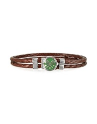 Forzieri Green Tennis Rackets Metal And Leather Men's Bracelet