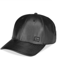 Sean John Men's Perforated Faux Leather Snapback Black