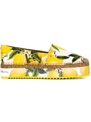Dolce And Gabbana Lemon Print Espadrilles Yellow And Orange