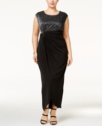 Connected Plus Size Crinkled Metallic Faux Wrap Gown Black Silver