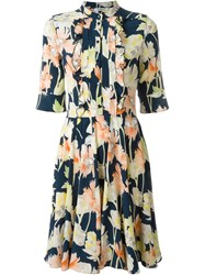 Cacharel Floral Print Button Down Pleated Dress Multicolour