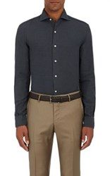 Barneys New York Men's Cotton Twill Shirt Dark Grey