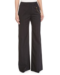 Escada Thin Striped Wide Leg Pants Black