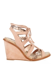 Paul Andrew Tempest Suede And Snakeskin Wedges