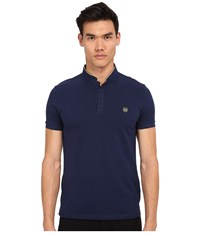 The Kooples Shiny Pique Polo Blue A5 Men's Short Sleeve Pullover Navy