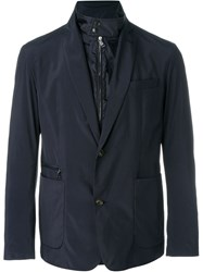 Moncler Soft Shell Layered Blazer Blue